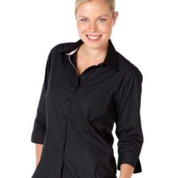 Ladies Contrast Placket 3/4 Shirt Black/White Thumbnail